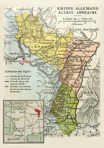 ドイツ領時代(1871~1918 年)のアルザス=ロレーヌ地方の地図